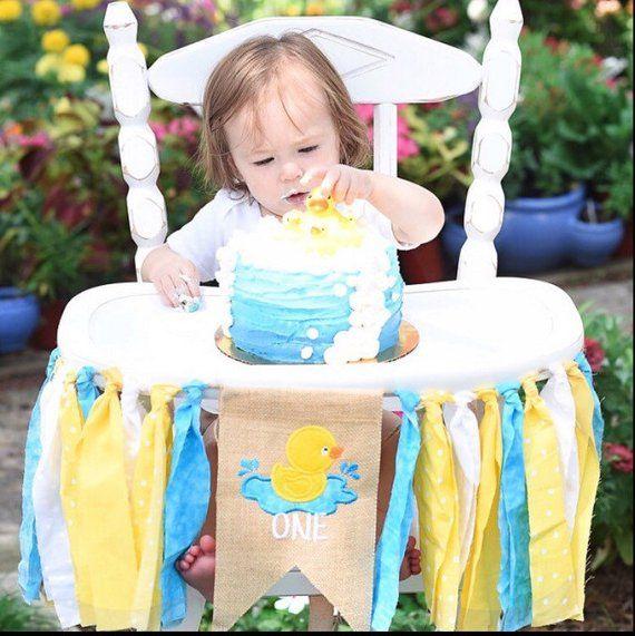 Birthday Boy Blam 3 By Nailesi: Duck Rubber Ducky First Birthday Highchair High Chair