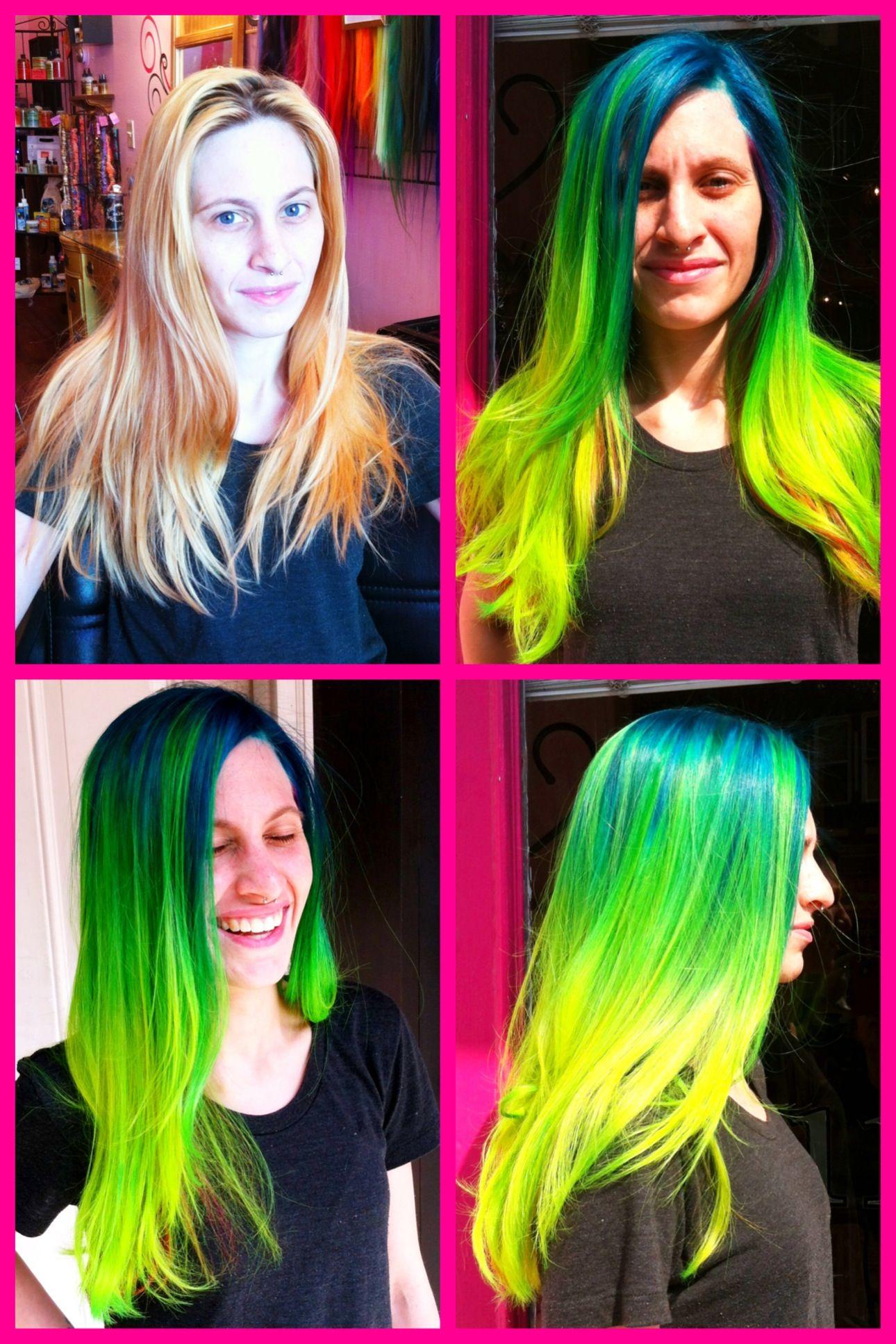 Neon Hair Green And Yellow Ombré Using Pravana S