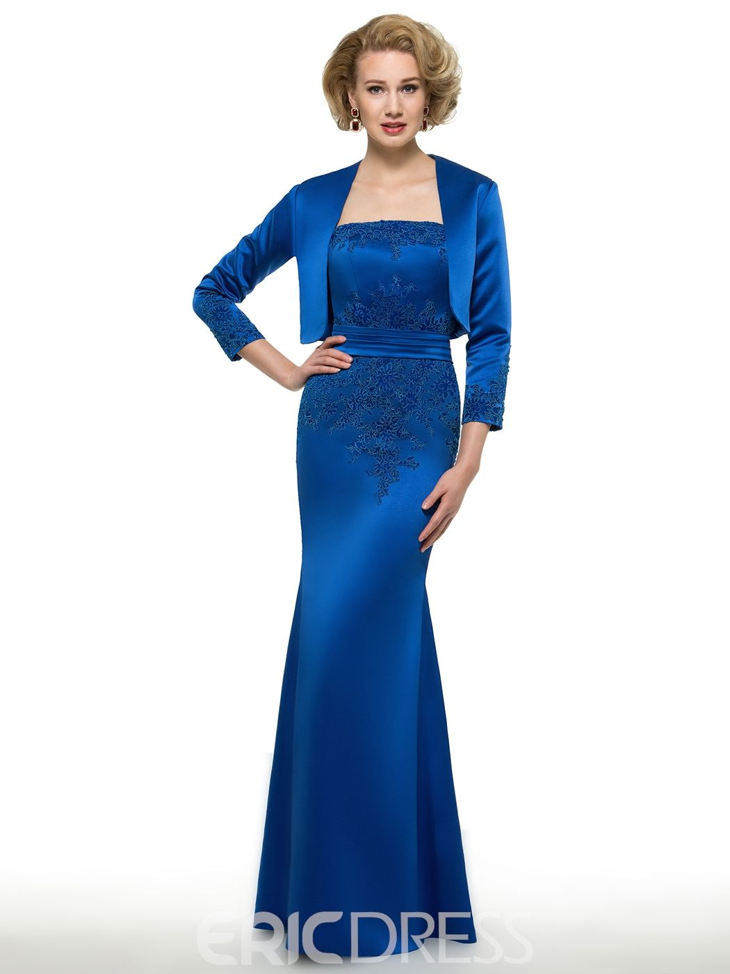 Modest strapless long mother of the bride dress with jacket mother