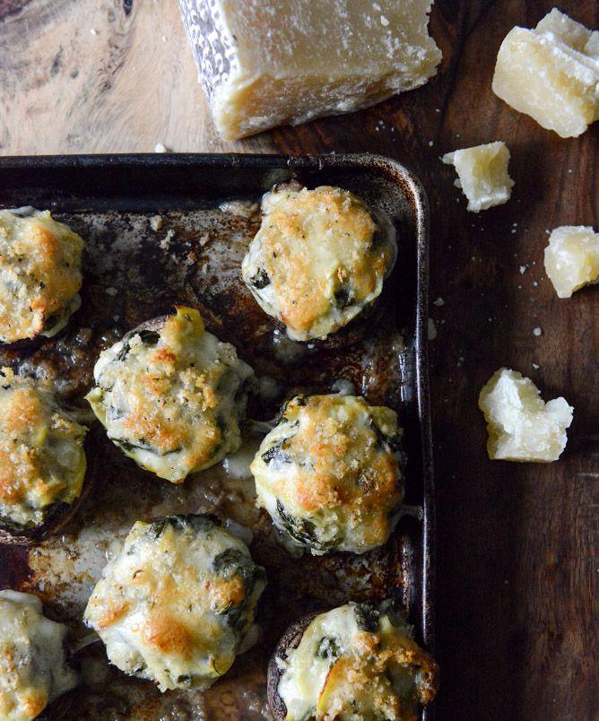 spinach, bacon + artichoke stuffed portobellos