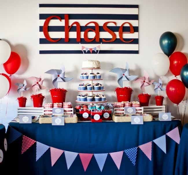 nautical themed boys first birthday party from 17 Birthday Party