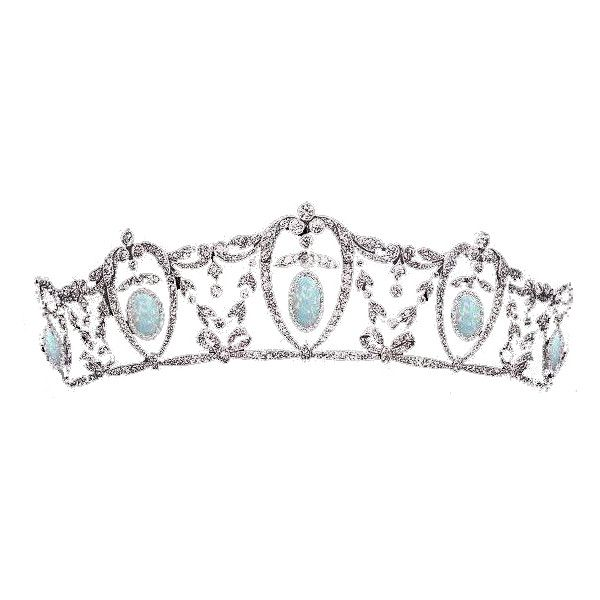 Opal and Diamond Tiara (Unknown) ❤ liked on Polyvore featuring accessories, hair accessories, tiaras, crowns, jewelry, opal, tiara crown, crown tiara, diamond tiara and diamond hair accessories