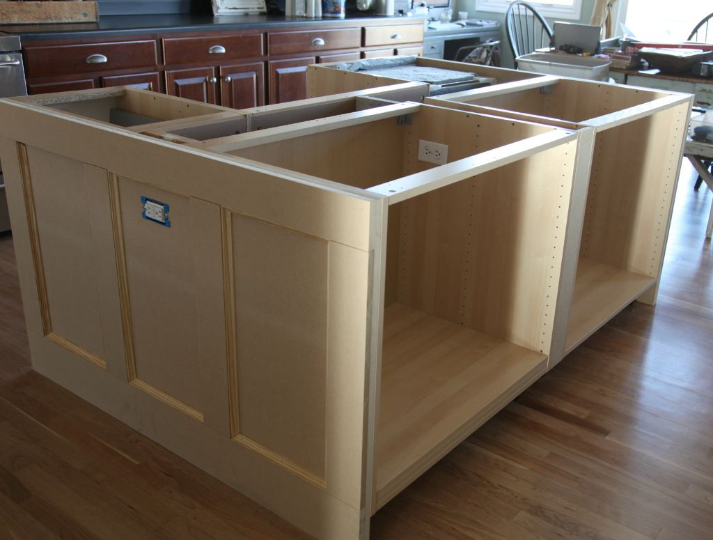 Ikea hack how we built our kitchen island jeanne for Build kitchen island with cabinets
