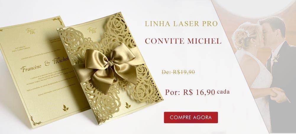 Vem conferir esse convite de casamento lindo na Loja de Convite da Papel & Estilo! Convite - corte a laser - Michel - Papel e Estilo