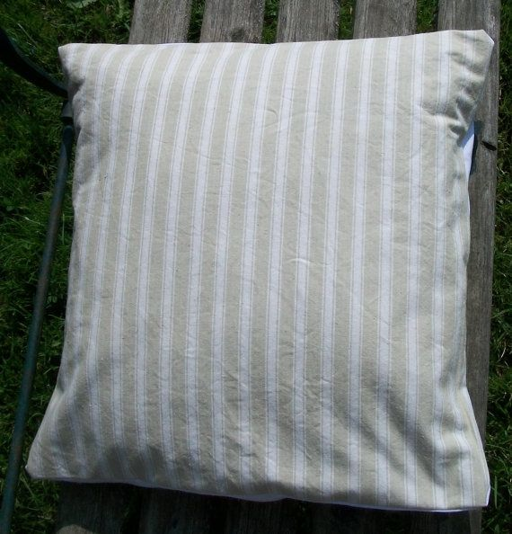 Antique French Fabric Pillow Slip Natural Sandy Neutral Striped 1930s French Ticking Cushion Cover