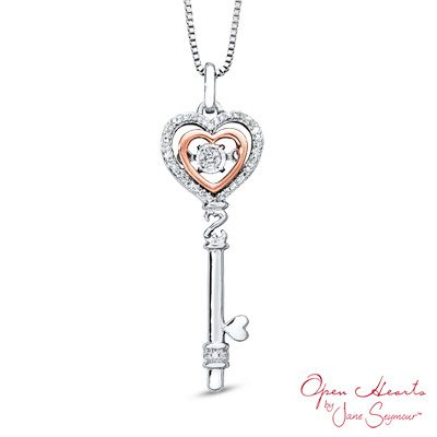 Open hearts rhythm by jane seymour 010 ct tw diamond key open hearts rhythm by jane seymour 010 ct tw diamond key pendant in sterling silver and 10k rose goldpeoples jewellers mozeypictures Image collections