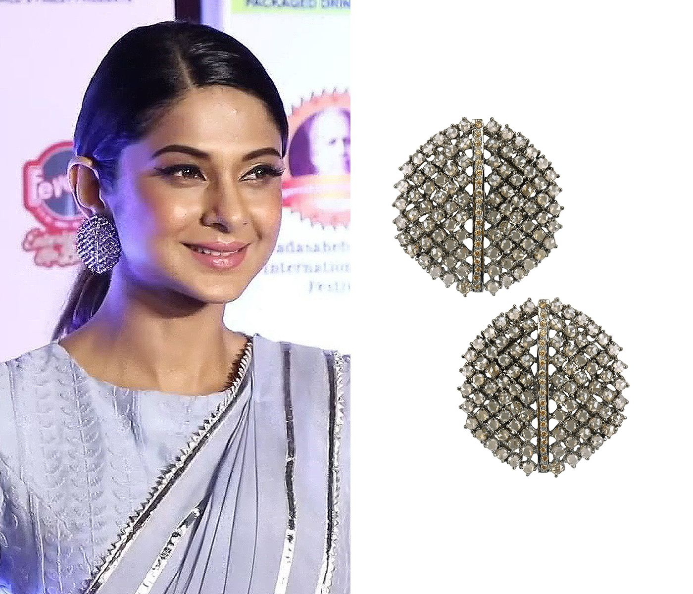 Sparkles Jennifer Winget Bedazzling In Antique Silver Finish Champagne Stones Studs By Nepra By Neha Goel Shop Now Ne Stone Studs Hand Harness Pop Up Shop