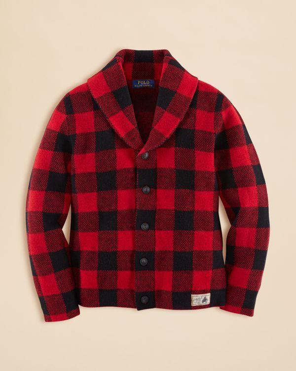 Ralph Lauren Childrenswear Boys' Wool Shawl Cardigan - Sizes S-xl