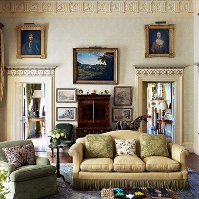 A Grand Traditional Living Room Furnished With Vintage Fabrics, Furniture  And Colours. The Best