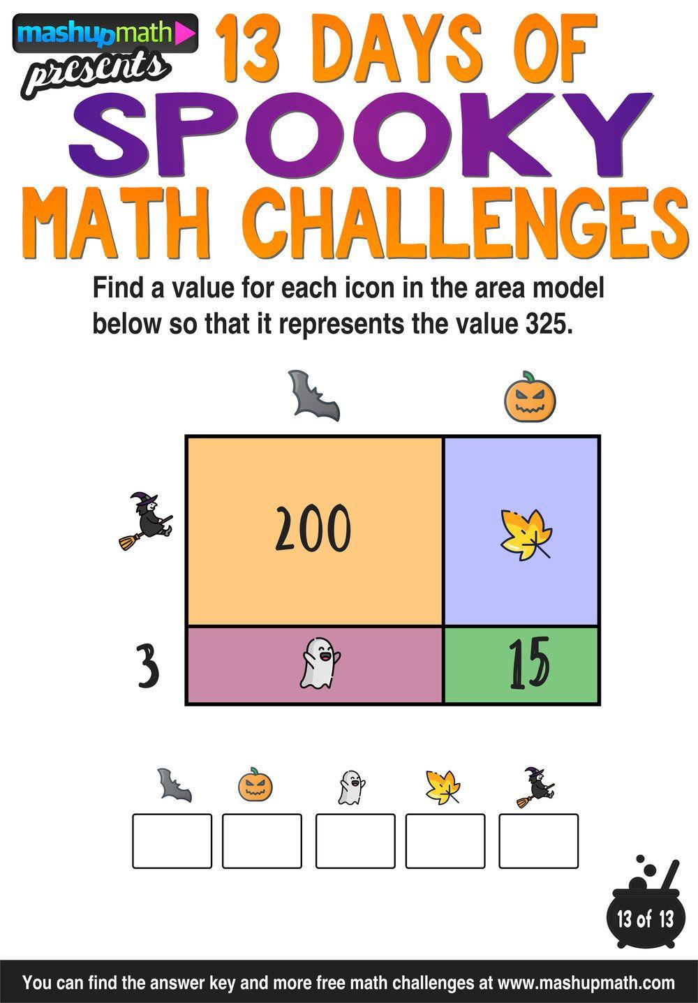Halloween Math 13 Days Of Spooky Math Challenges For Grades 1 8 Mashup Math Math Challenge Halloween Math Activities Halloween Math [ 1437 x 1000 Pixel ]
