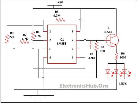 Led Lamp Dimmer Project Circuit Diagram And Working Circuit Diagram Electronics Circuit Electronic Circuit Projects