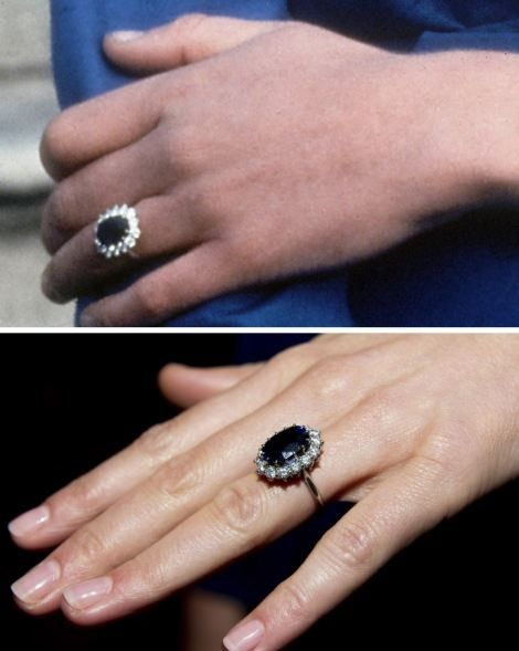 Diana & Kate wearing their sapphire engagement ring