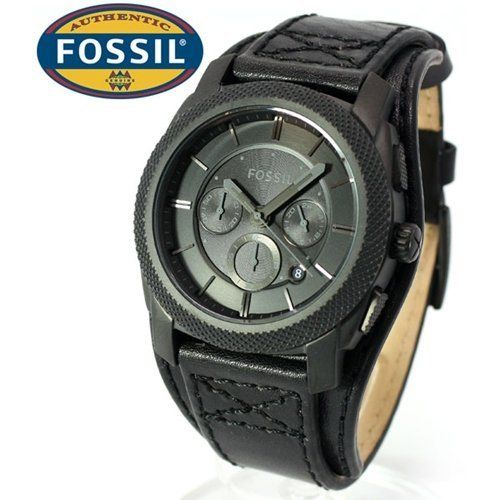 b6a6049687598 FOSSIL Machine Cuff Leather Watch - Black