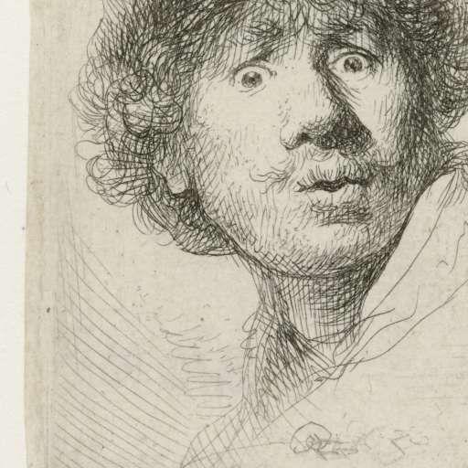 Zelfportret Rembrand van Rhijn met baret en open gesperde ogen. 1630