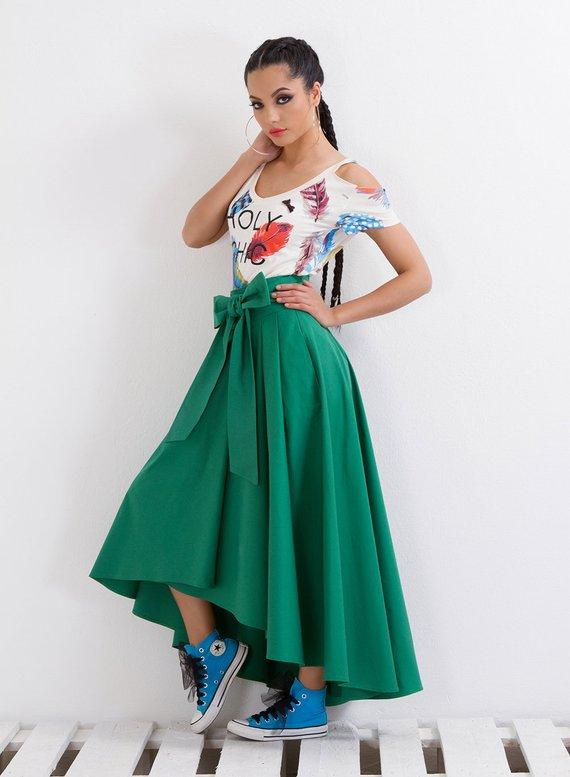 86ff87a0eb Green Skirt  Summer Skirt  High Waist Skirt  Midi Skirt  Party Skirt  Long  Skirt  Modern Skirt  Asym