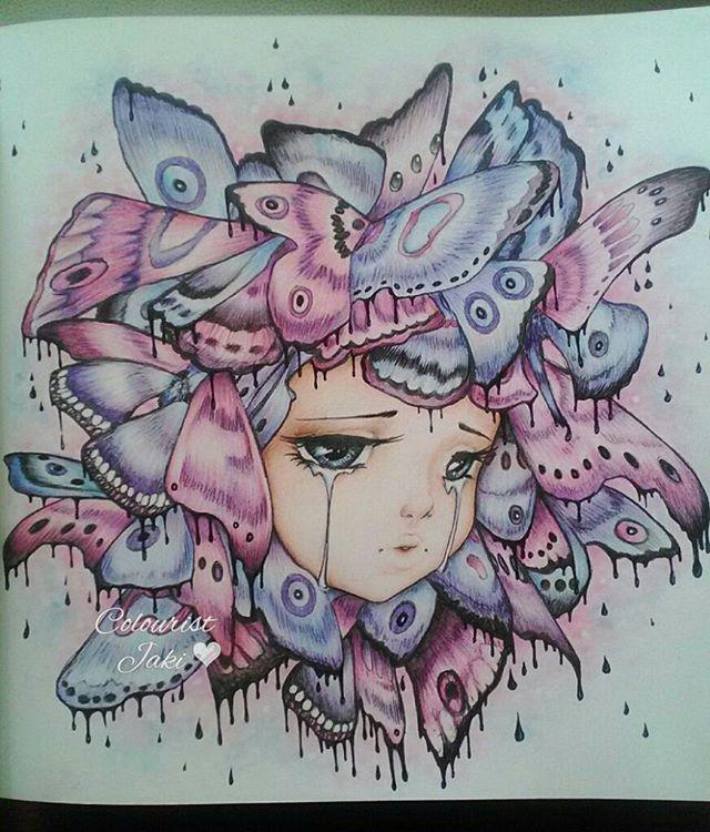 Finished Pop Manga Coloring Book Camilladerrico Popmangacoloringbook Popmanga Butterflies Ad Manga Coloring Book Coloring Book Art Mermaid Coloring Book