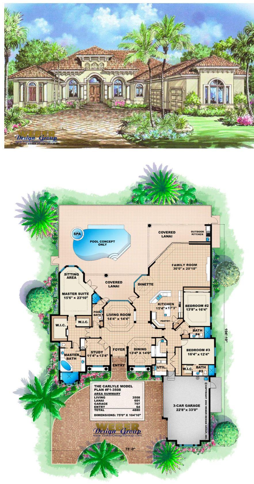 Mediterranean House Plan 1 Story Mediterranean Floor Plan With Pool Mediterranean Floor Plans Mediterranean Style House Plans Mediterranean House Plans