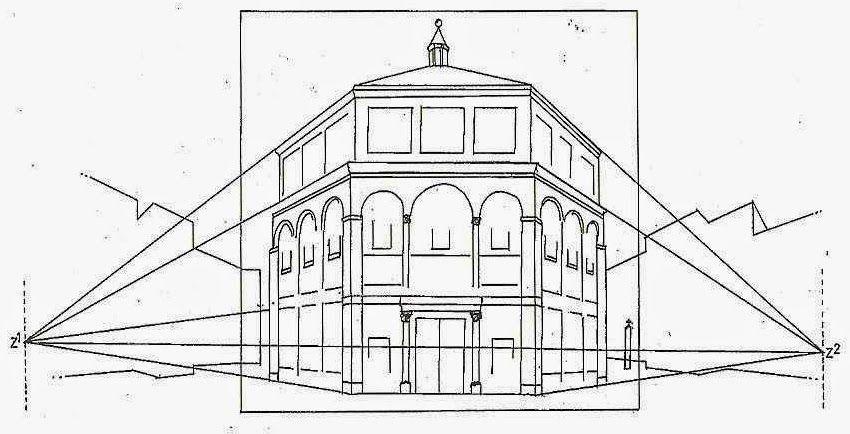 4 Rconstruccion Baptisterio La Solucion Dada Por Brunelleschi Para Realizacion Perspectivasl Vino Dado C Punto De Fuga Perspectiva Lineal Dibujo Perspectiva
