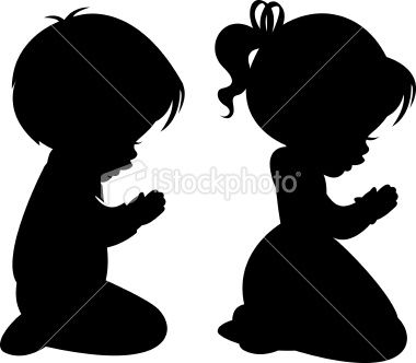 A little by and little girl praying  Can be used separately