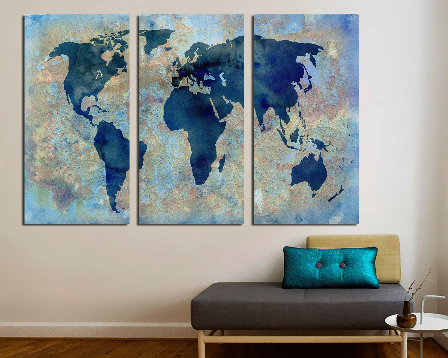 3 Panel Split Abstract World Map Canvas Deep Frames Triptych Art For Home Office Wall Decor Interior Design