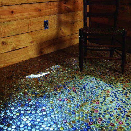 Recycled Bottle Cap Floor This Would Be Neat Outside In A