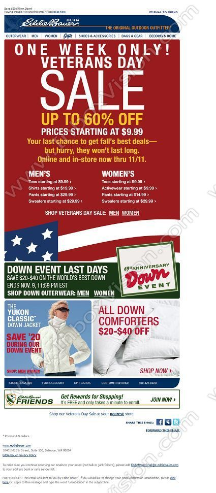 company eddie bauer subject up to 60 off veterans day sale