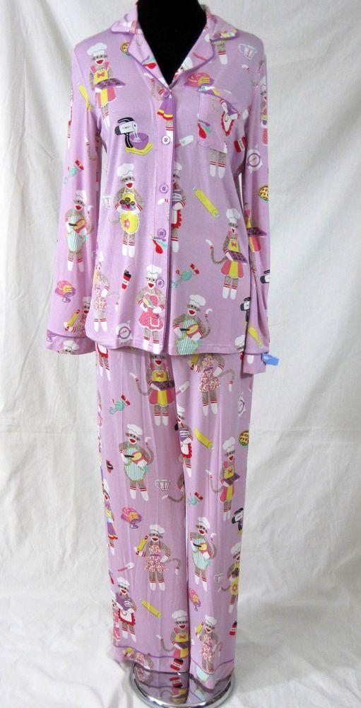 Nick Nora Sleepwear Ladies Size Small S Pajamas Set Baking Sock Monkeys Purple Pajama Set Womens Pjs Pajamas