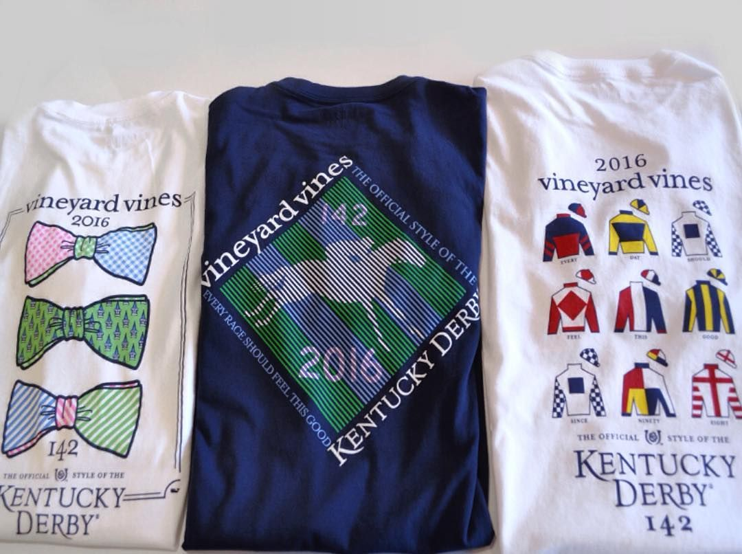 Long-sleeve navy or short-sleeve white Kentucky Derby T-shirts made by Vineyard Vines are officially out and will officially be sold out very soon. These are a hugely popular item every year. Head on over to Circe  SWAG soon to nab one. Of course they are all adorable. The short-sleeve tees are $44 and the long-sleeve are $49.50. #sbguide @circelouisville @swaglouisville by styleblueprintlville