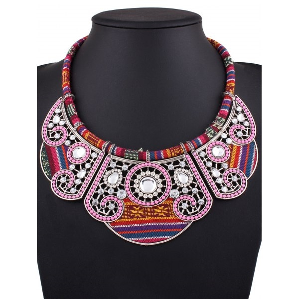 5.95$  Buy now - http://dicq0.justgood.pw/go.php?t=203064702 - Rhinestone Floral Fake Collar Necklace