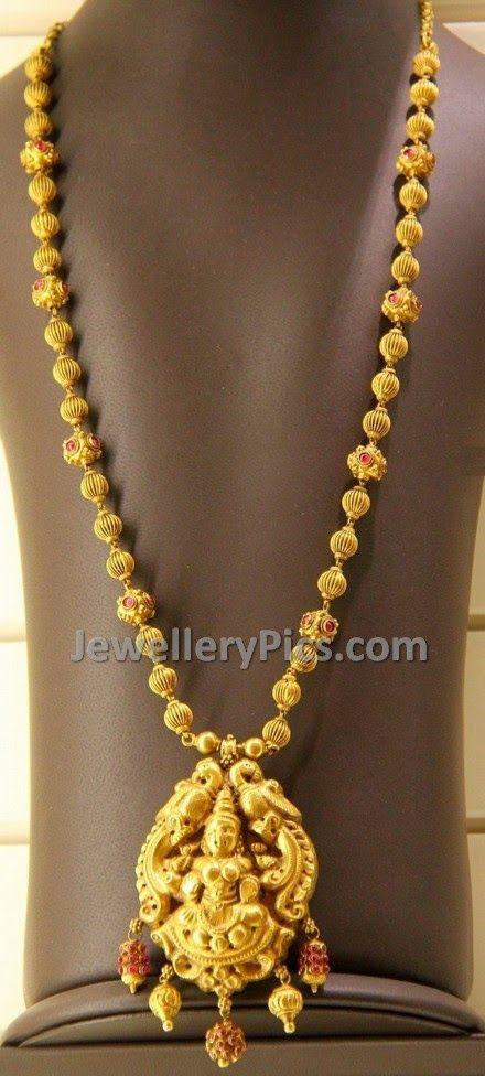 Traditional Dd Balls Lakshmi Devi Haram Gold Necklace