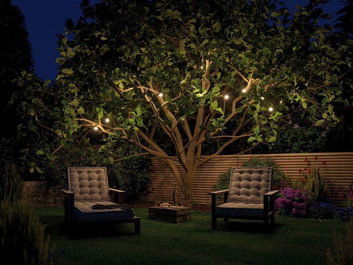 Lichterkette Im Garten Baum Und Dann Auch Noch Per Lichtschalter Schaltbar Durch Das Schlaue Plug Gartenbeleuchtung Lichterkette Garten Beleuchtung Garten