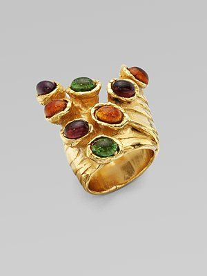 7b72c6ac377 Yves Saint Laurent Goldtone Artsy Dot Ring - $250.00 #YSL #YvesSaintLaurent  #fashion #jewelry #style #trend #antique