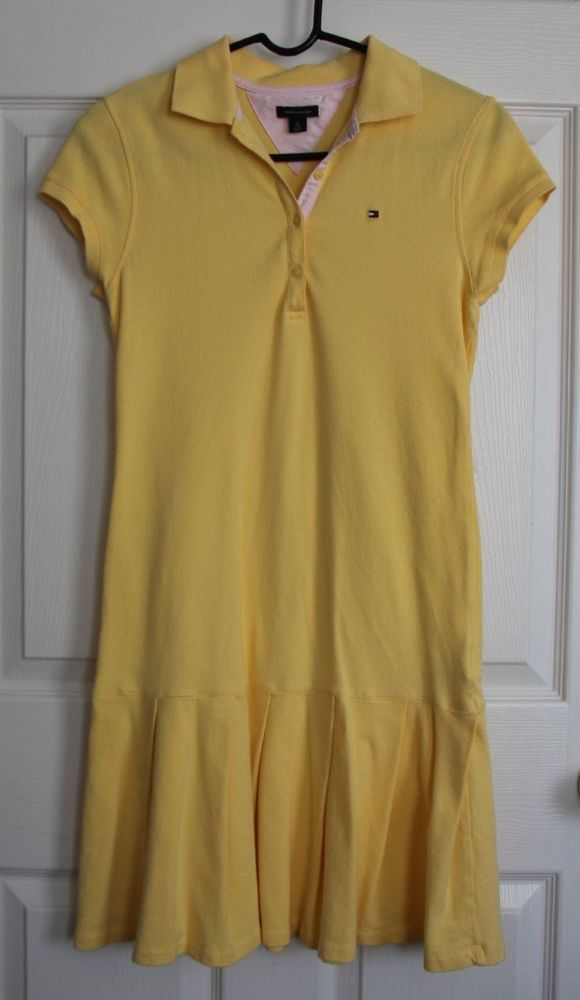 Tommy Hilfiger Big Girls Size 16 XL Yellow Polo Dress Sundress Spring Summer EUC #TommyHilfiger #Everyday