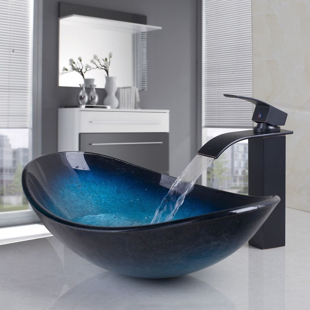 0b7b2f94d09 US Oval Tempered Vanity Glass Vessel Sink with Chrome Faucet Drain Combo  Basin  Unbranded