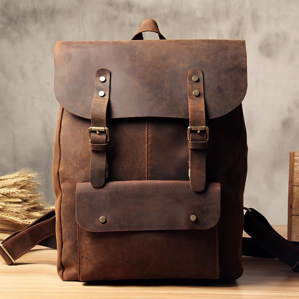 Genuine Leather Vintage Brown Mens Cool Leather Backpack Travel Bag for men 69a611b24f16