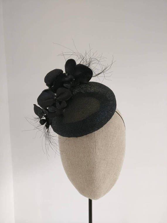 53eabde404e Black Fascinator - Black Wedding Hat - Black Straw Headpiece - Wedding  Headpiece - Black Hatinator - Black Pillbox Fascinator Black Orchid