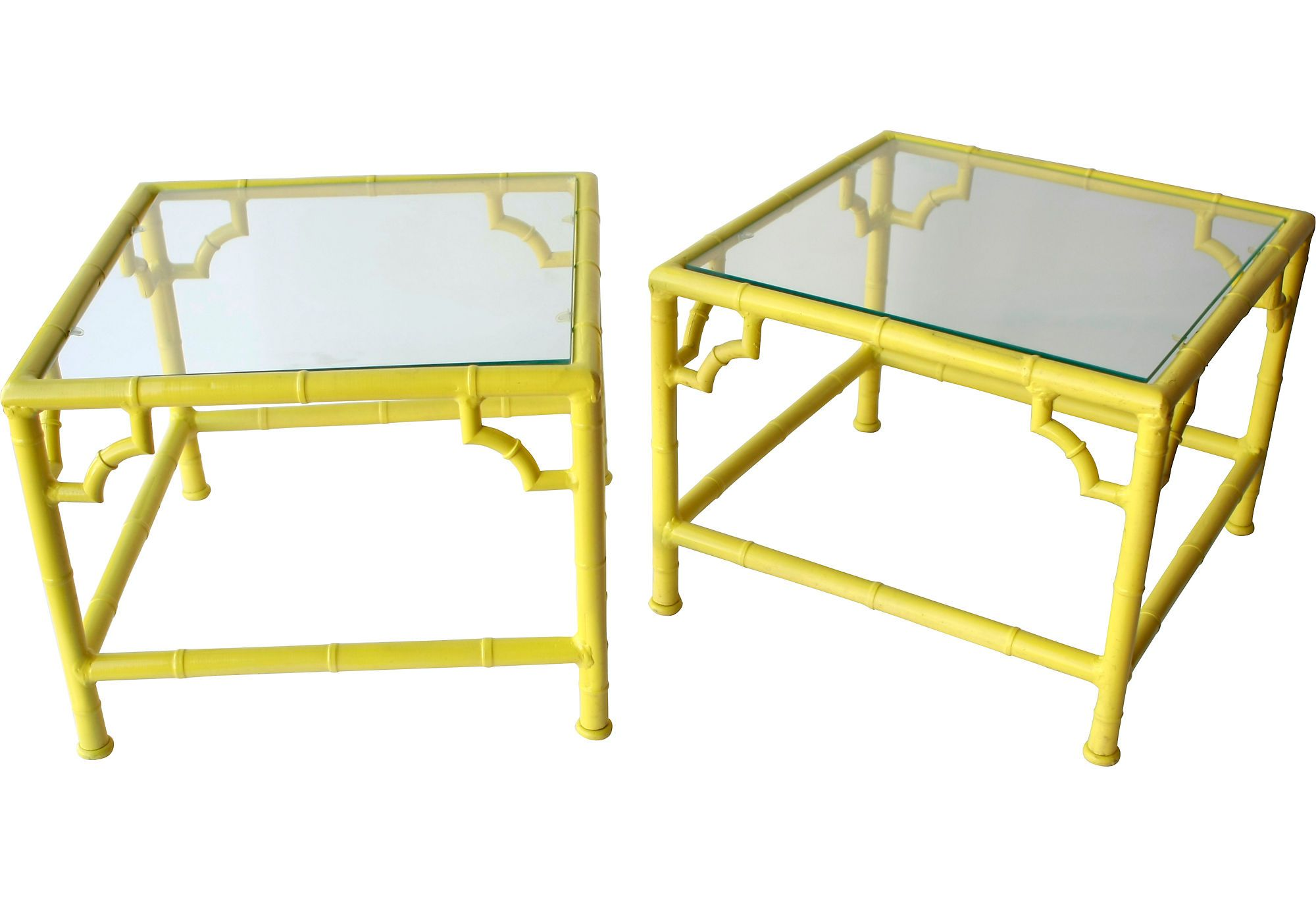Yellow Bamboo Style Tables Pair One Kings Lane Vintage  # Muebles Long Lane