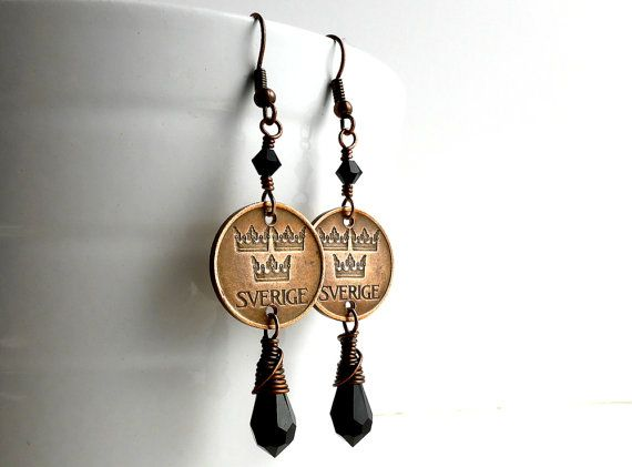 Swedish Coin earrings Gothic earrings Jet black by CoinStories