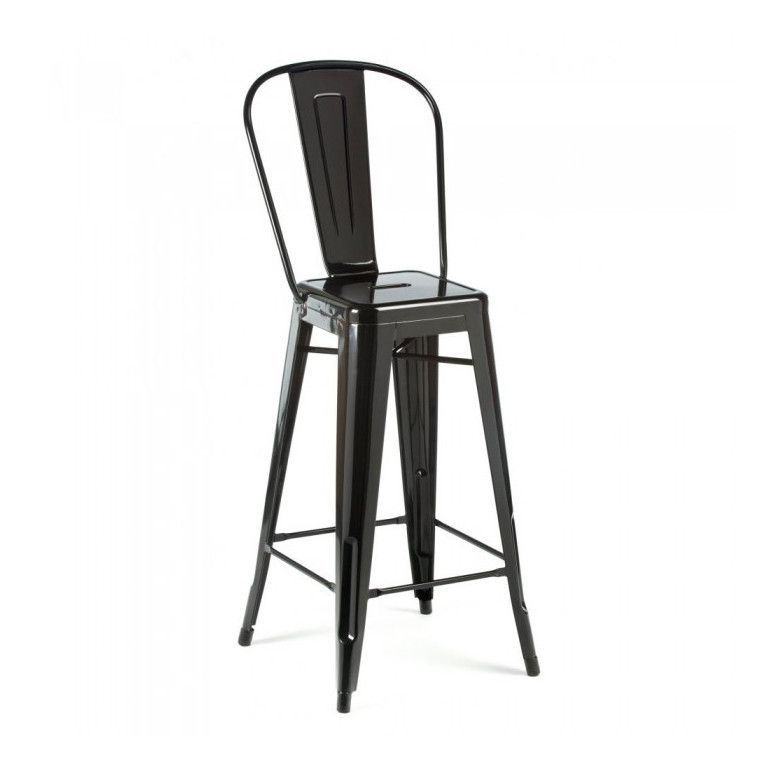 Sundsvall Glossy Black Steel High Back Barstool 30 (Set of 4)