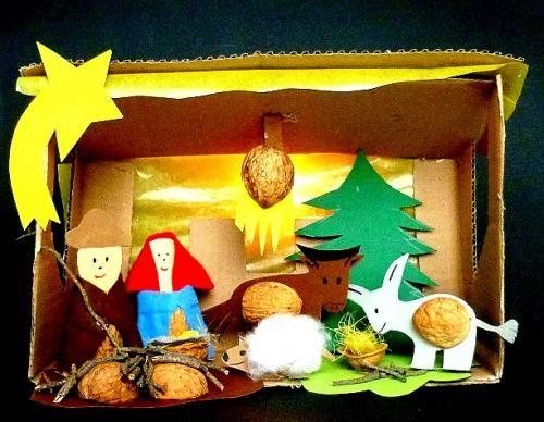 Weihnachtskrippen krippe aus nussschalen heiligabend - Weihnachtsbasteln mit kindergartenkindern ...