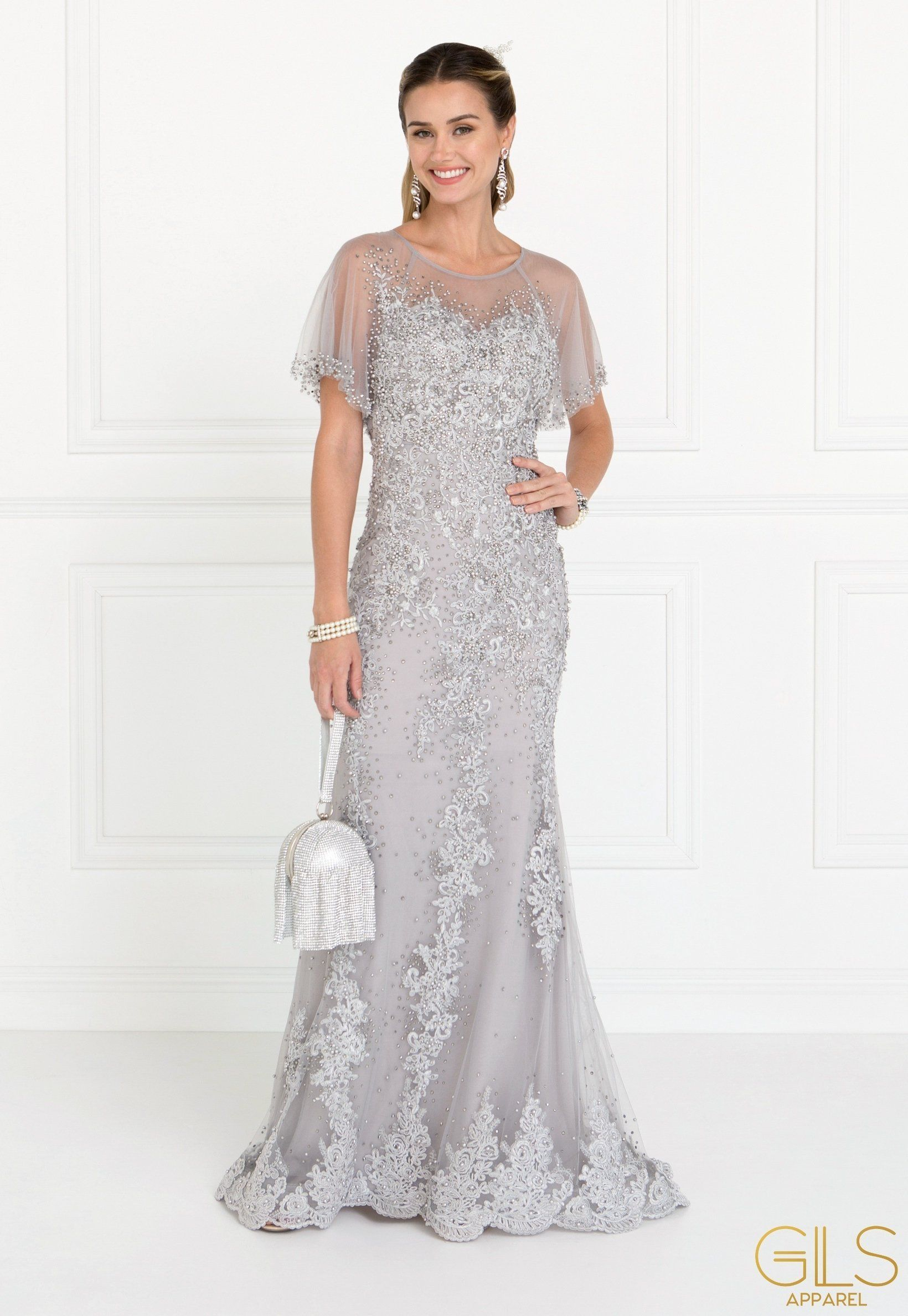 4a78a0266175 Embroidered Long Pink Cape Dress by Elizabeth K GL1585 in 2019 ...
