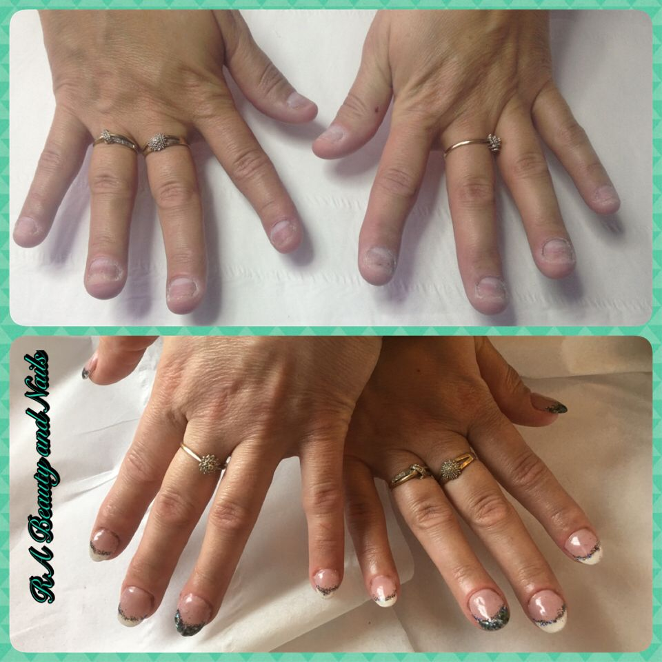 French design for nail biters - hard gel sculpted Products used ...