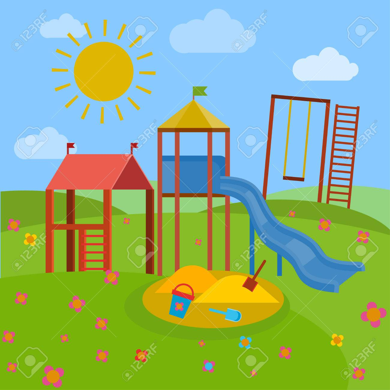 Dibujo De Parque Con Columpio Buscar Con Google Parque Dibujo Hombre Arana Para Pintar Parques