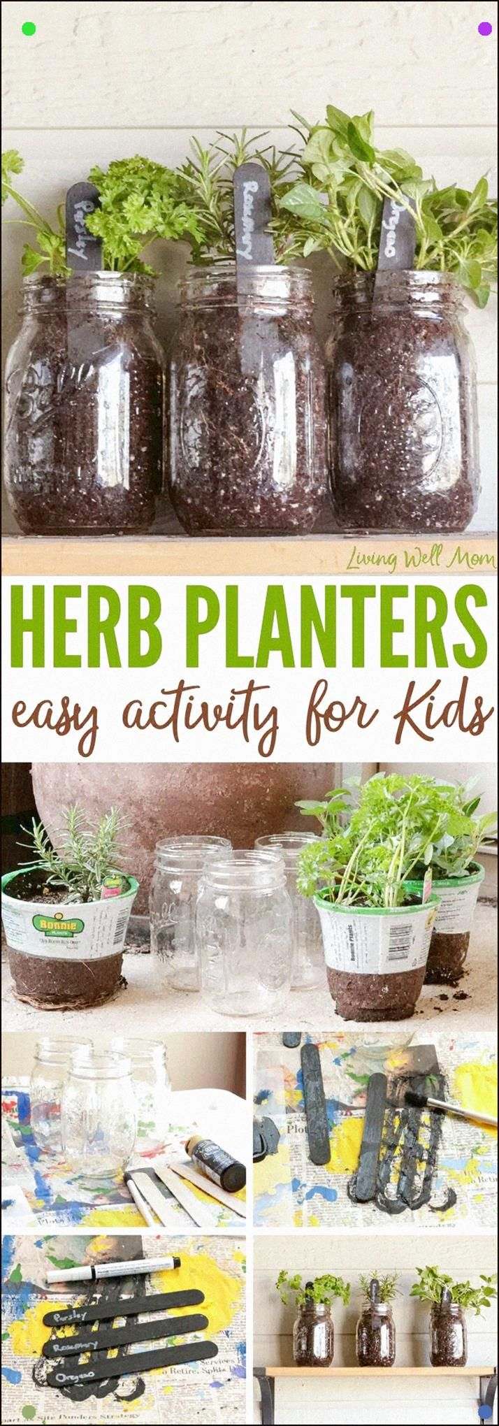 how to make easy herb planters for kids herb planters on indoor herb garden diy wall mason jars id=87388