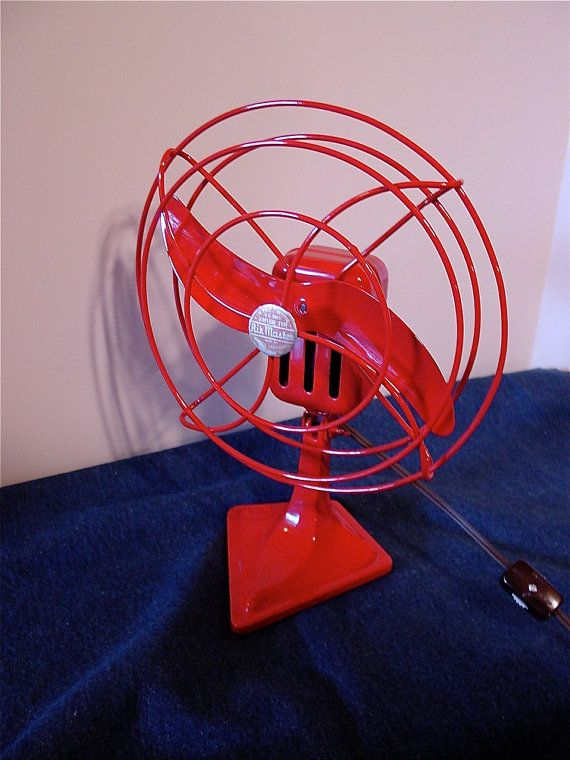 Vintage AirMaster Electric Fan Air Plane Type Fire Engine Red 8 inch