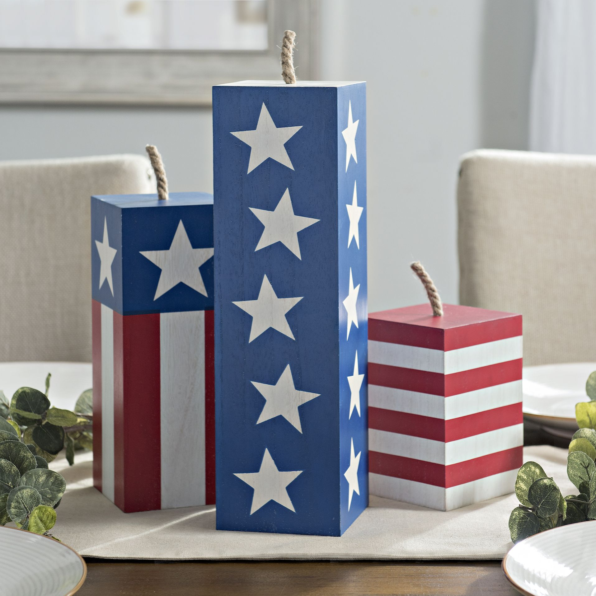 4x4 Wood Crafts Red White And Blue Wooden Firecrackers Set Of 3 Woodworking
