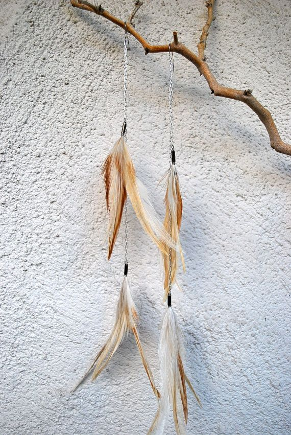 Extra Long Rooster Feather and Chain Earrings  Style by jessamurph, $32.00
