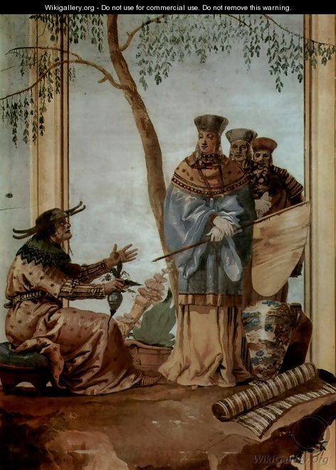 """Frescoes in the Villa Valmarana, Vicenza, Prince at chinese soothsayer scene"" by Giovanni Domenico Tiepolo (a soothsayer is a fortune teller)"