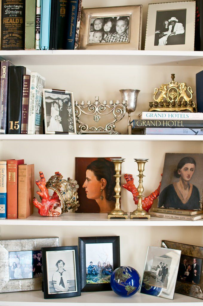 Styling Secrets From an Antiques Addict is part of Silver Home Accessories House Tours - Lynn's shelves are filled with a mix of pretty antique accessories, family photos, and books  Source Kassie Borreson