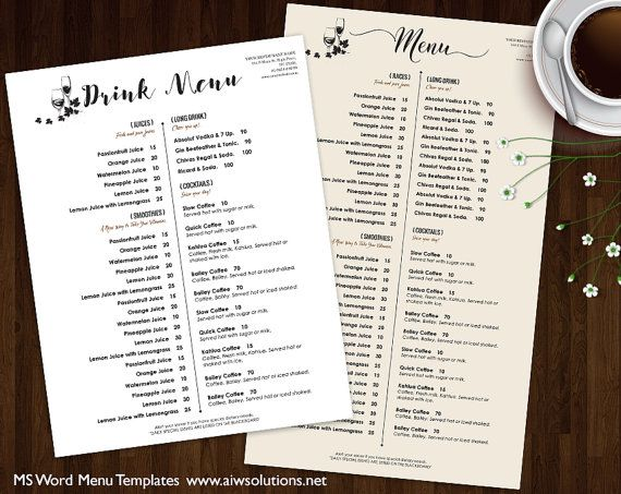 Drink Menu Templates, Printable Restaurant Menu Template, Wedding
